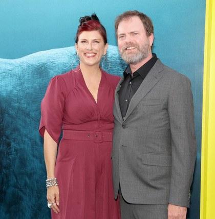 Rainn Wilson with wife Holiday Reinhorn at the premiere of The Meg, 2018