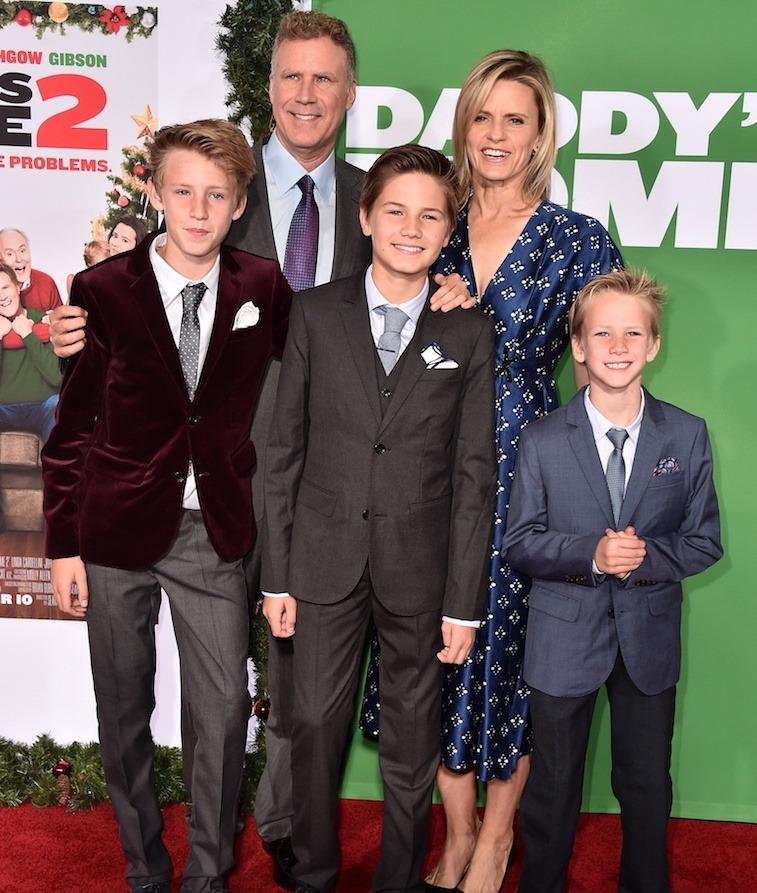 Will Ferrell and Viveca Paulin with sons Mattias, Magnus and Axel, Daddy's Home 2 premiere, 2017