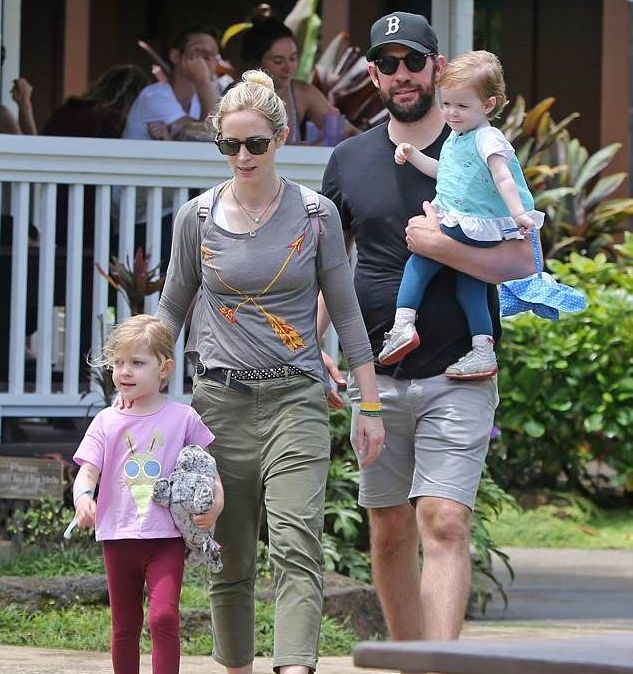 John Krasinski and Emily Blunt on holiday in Hawaii with daughters Hazel and Violet, 2018