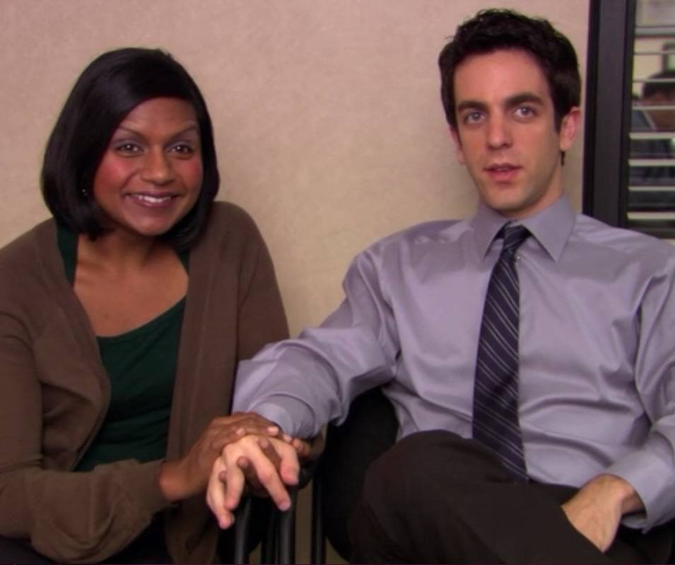 Mindy Kaling and BJ Novak as Kelly Kapoor and Ryan Howard in The Office
