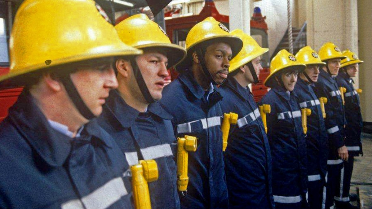 The fire fighters lining up together
