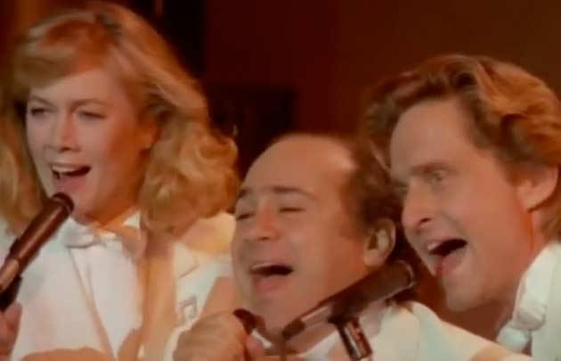 Kathleen Turner, Michael Douglas and Danny DeVito in the music video for Billy Ocean's song 'When the going gets tough, the tough get going'