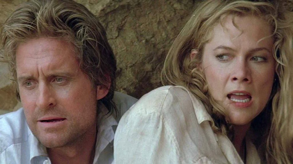 Kathleen Turner as Joan Wilder and Michael Douglas as Jack Colton in The Jewel of the Nile
