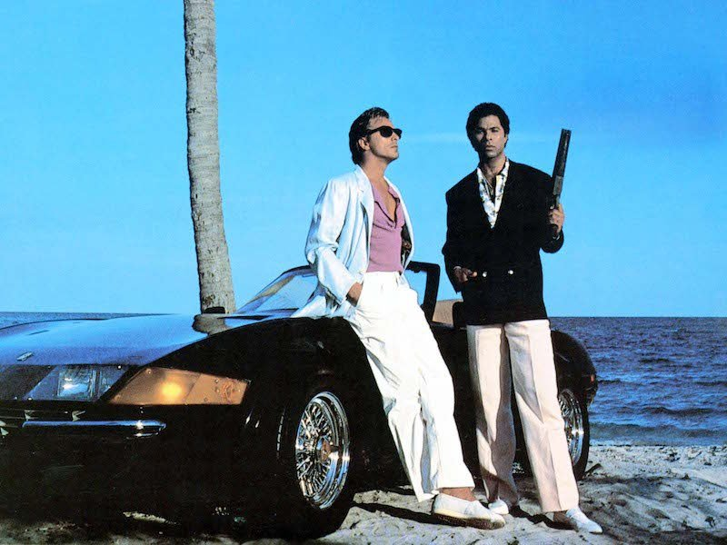 Detectives Sonny Crockett and Ricardo Tubbs on the beach