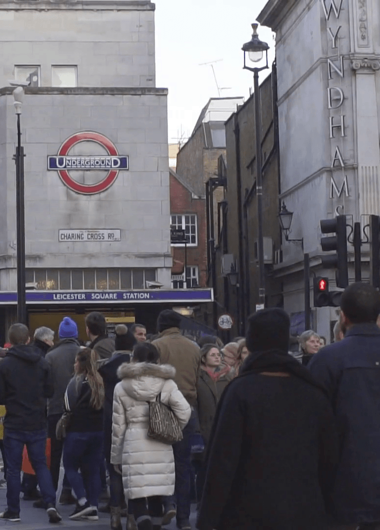 london uk january 21 2017 the junction of charing cross road and cranbourn street right opposite leicester square subway station people walk down the street twilight hs nfgbdx thumbnail full01 The 20 Worst Tube Stations In London