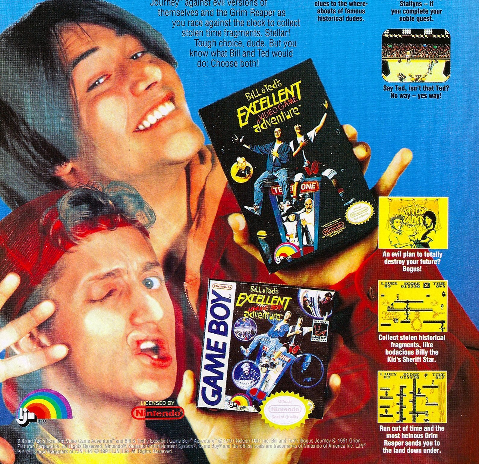 Bill and Teds Excellent Video Game Adventure and Game Boy Adventure e1616514412361 25 Totally Non-Heinous Facts About Bill & Ted's Excellent Adventure!