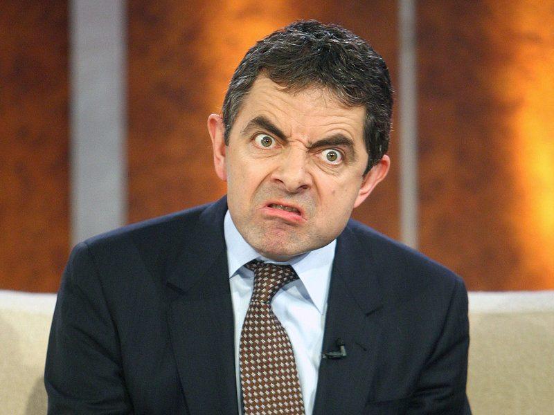Rowan Atkinson pulling a funny face