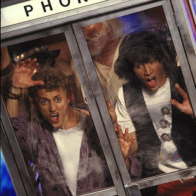 bill ted phone booth e1560356431398 25 Totally Non-Heinous Facts About Bill & Ted's Excellent Adventure!