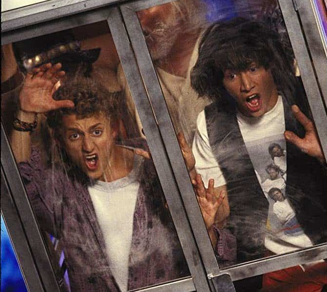 bill ted phone booth e1616581045136 25 Totally Non-Heinous Facts About Bill & Ted's Excellent Adventure!