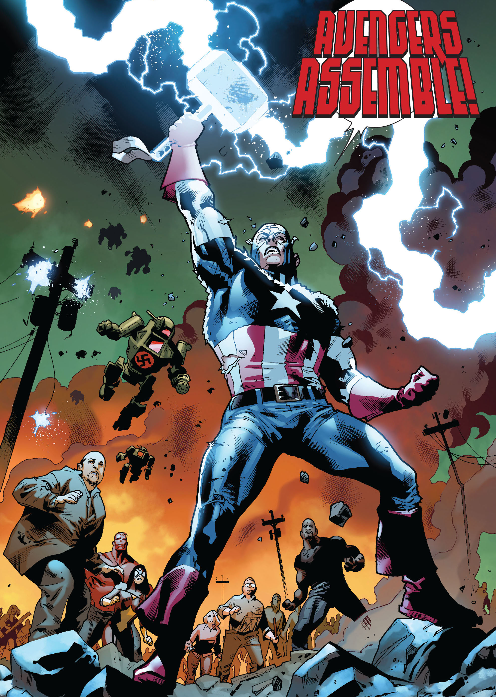 to rally the heroes against an asgardian deity captain america lifts mjolnir in fear itself 7 w 30 Things You Didn't Know About Avengers: Age of Ultron