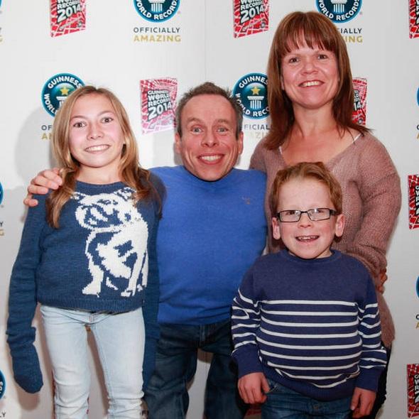 Warwick Davis with his wife Samantha Davis and children