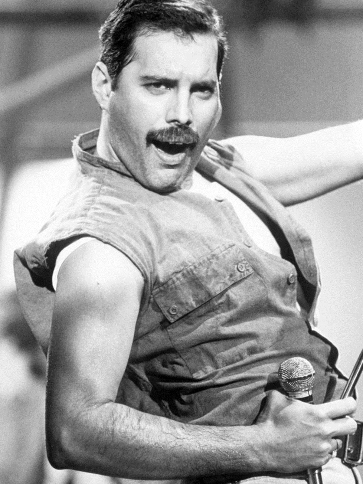 Freddie Mercury black and white Santa Claus: The Movie 1985