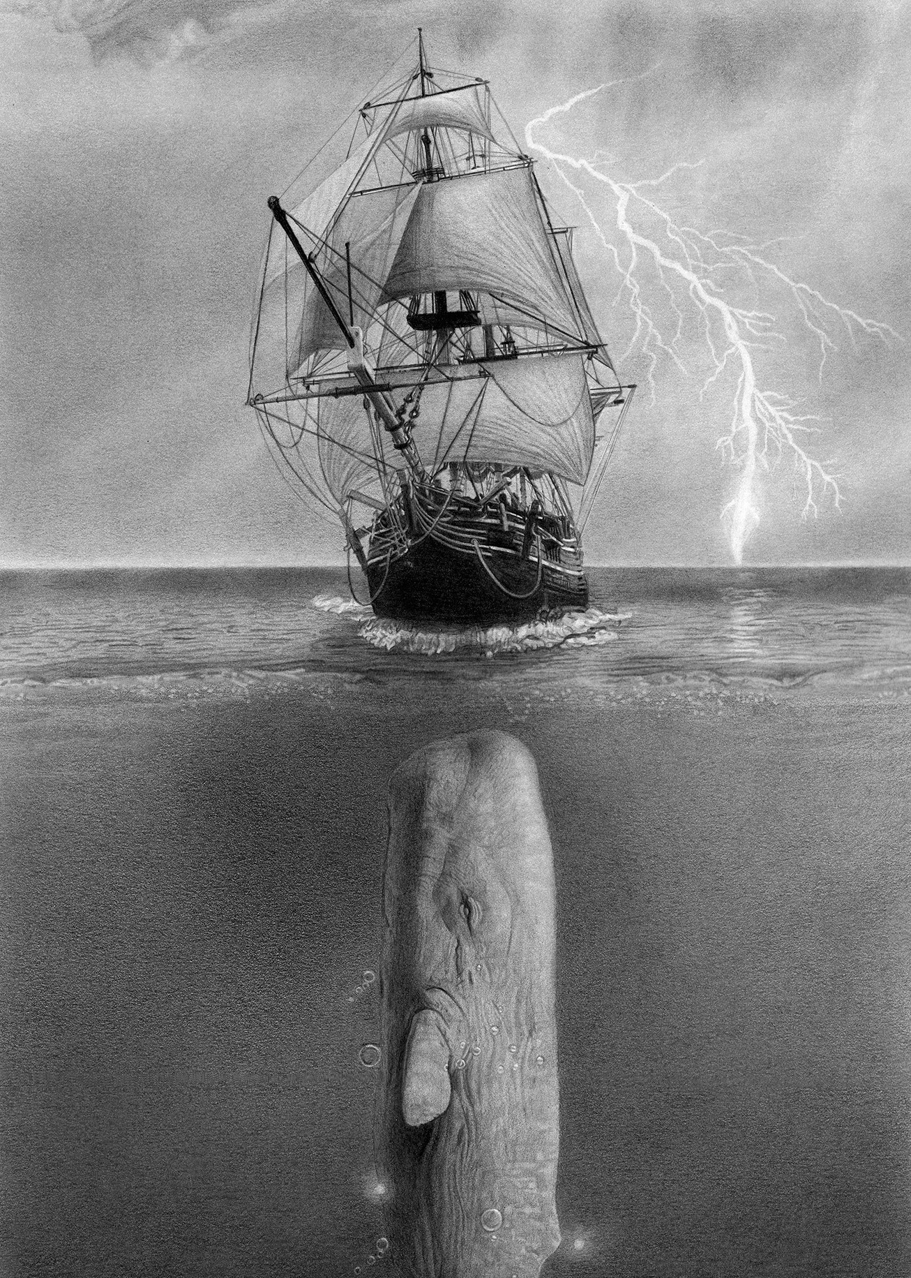 Artist impression of Moby-Dick approaching the Pequod
