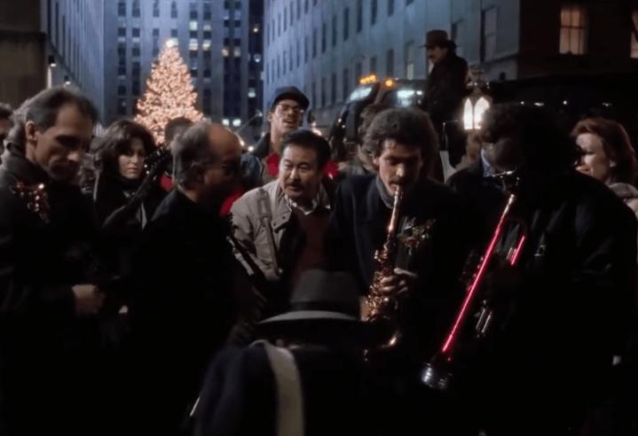 Larry Carlton, David Sanborn, Miles Davis and Paul Shaffer in Scrooged
