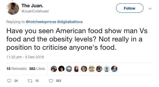 Screenshot 2018 12 13 at 14.22.39 1 An American Trolled British Food And This Was The Response He Got