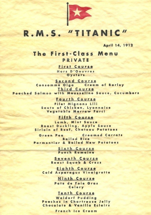 Titanic Menu web 25 Things You Never Knew About The Titanic