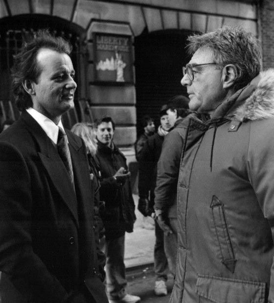 Bill Murray and director Richard Donner on the set of Scrooged