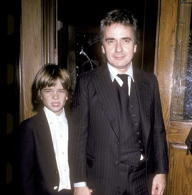 Dudley Moore with son Patrick Moore, 1985