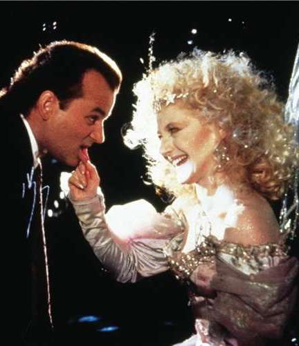Bill Murray and Carol Kane in Scrooged