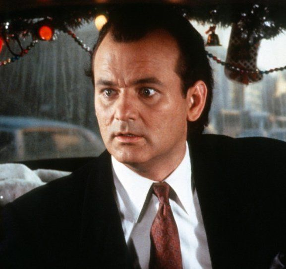 Bill Murray takes a cab as Frank Cross in Scrooged