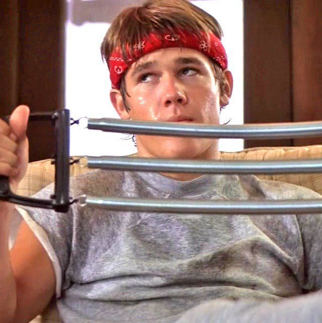 """A young Josh Brolin as Brandon """"Brand"""" Walsh in The Goonies, sweat band"""