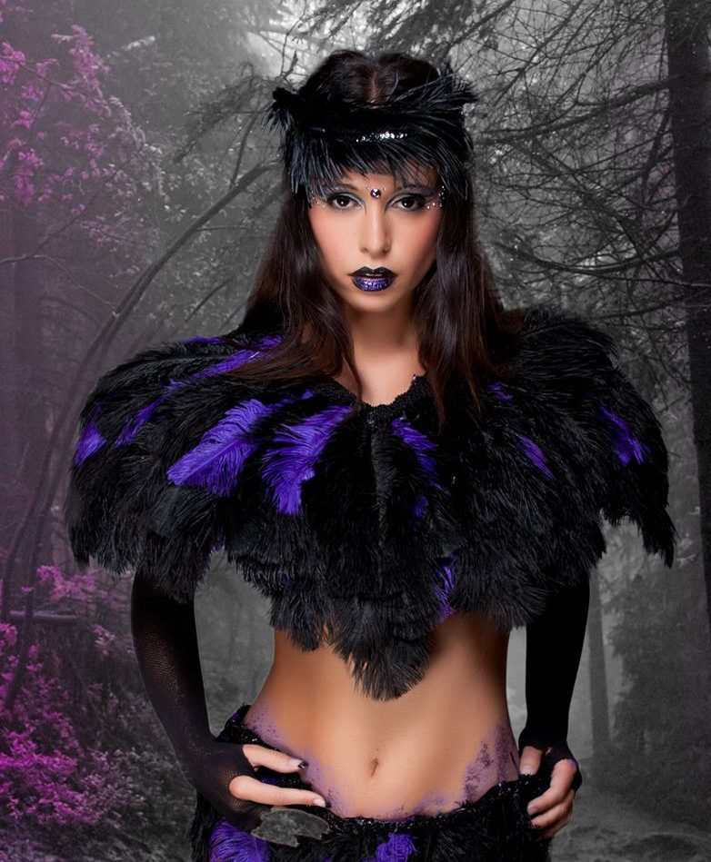 Angelique Jerome modelling a feather ensemble