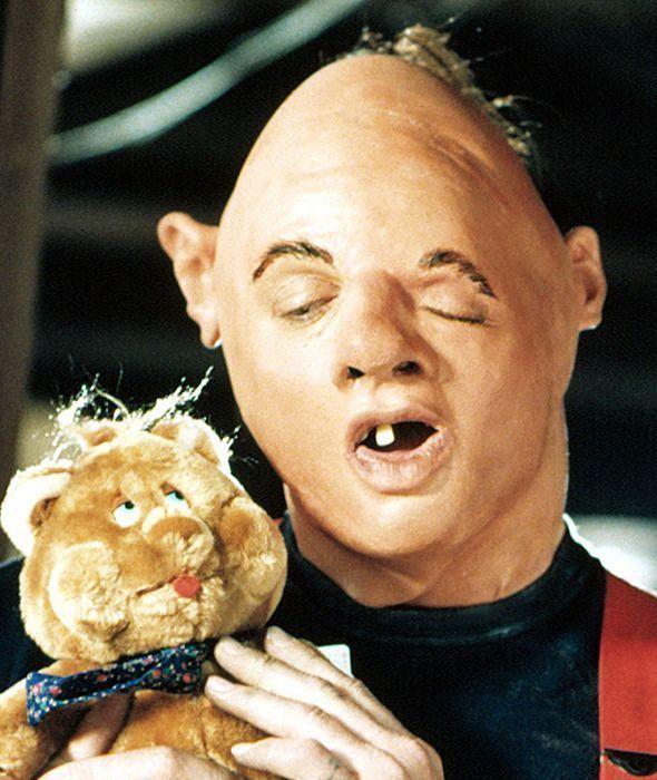 John Matuszak as Sloth in The Goonies, with teddy bear