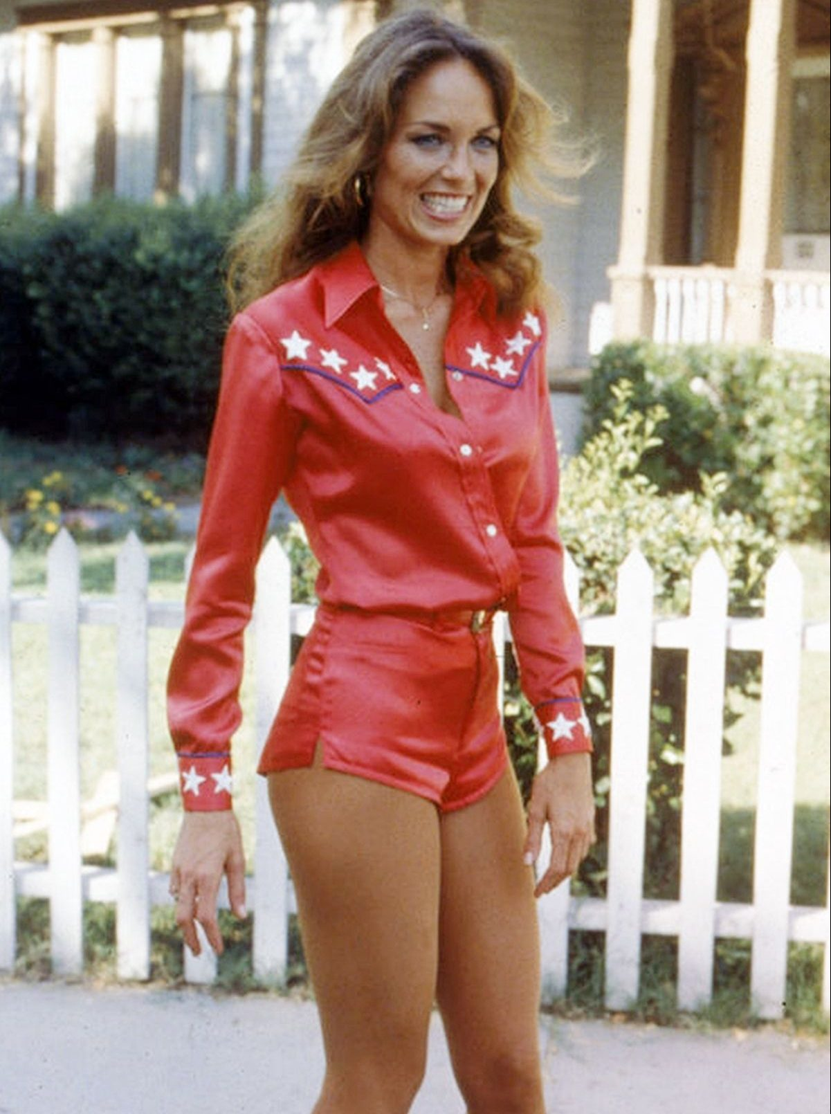 Catherine Bach as Daisy Duke in The Dukes of Hazard in her iconic red leather outfit