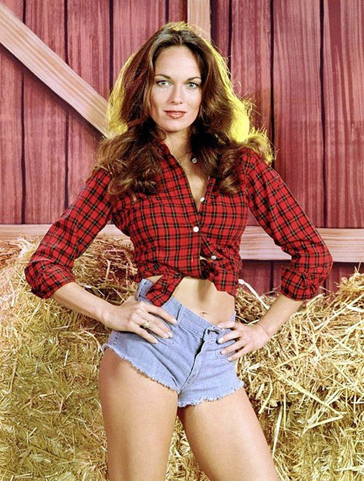 Catherine Bach wearing her famous denim shorts as Daisy Duke in The Dukes of Hazard