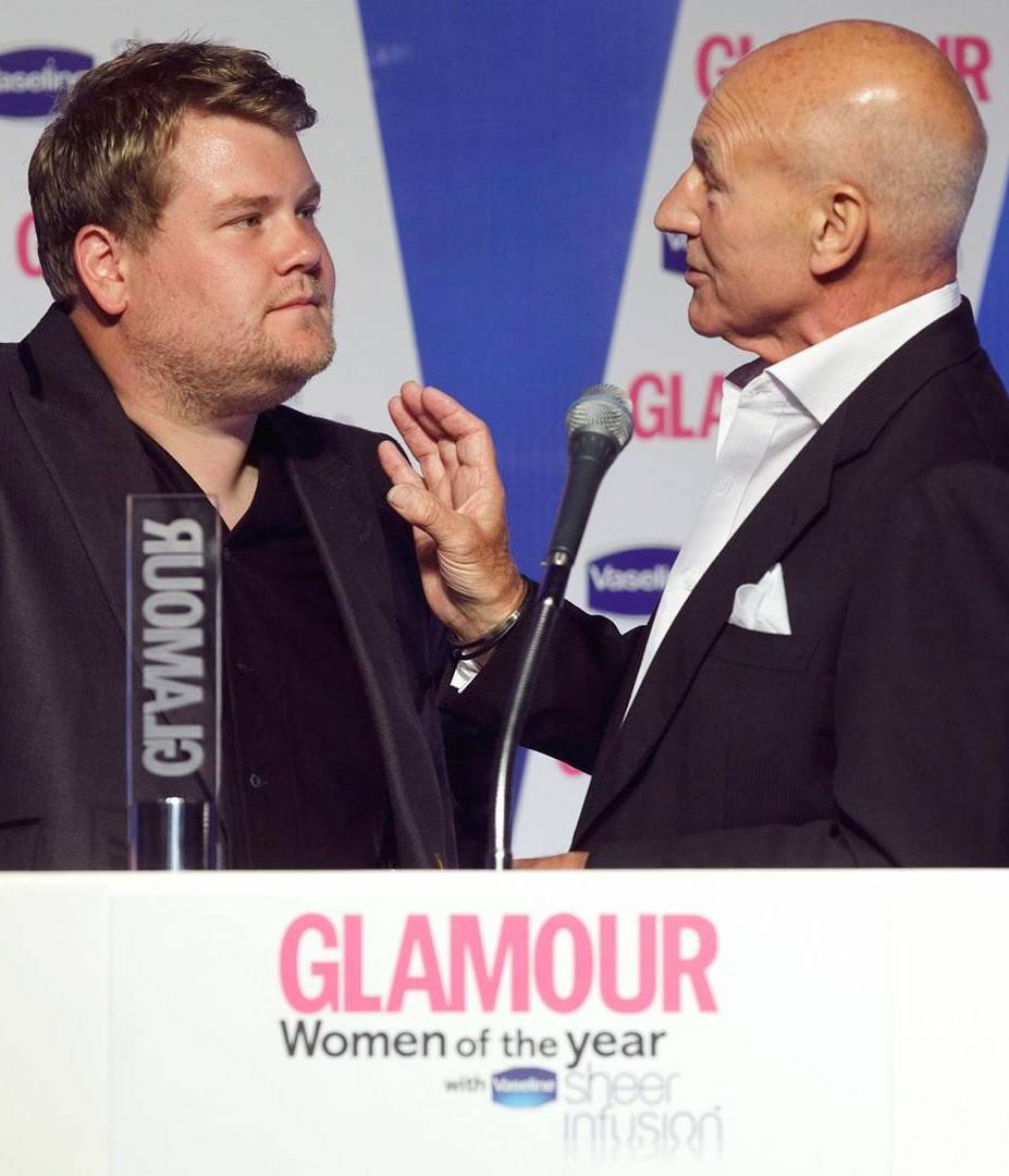 Patrick stewart james corden glamour 15aug16 rex b 25 Things You Didn't Know About James Corden