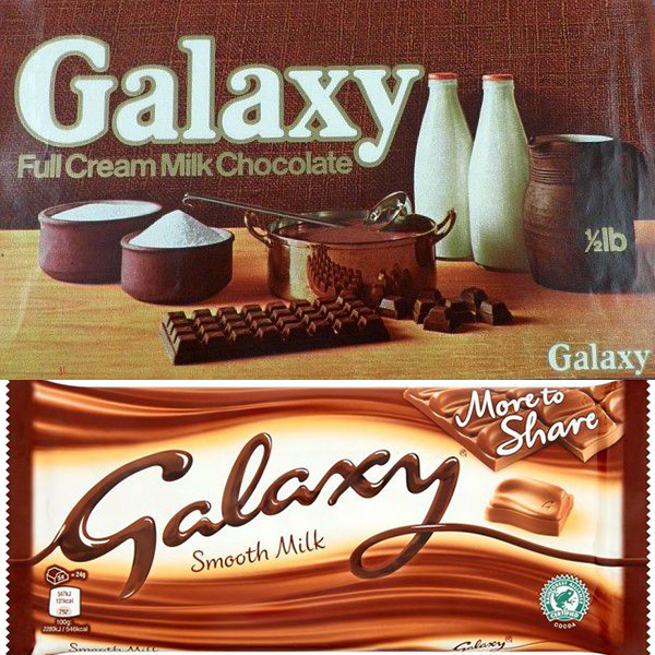 galaxy bar then and now You Won't Believe How The Packaging Has Changed On Your Favourite Snacks