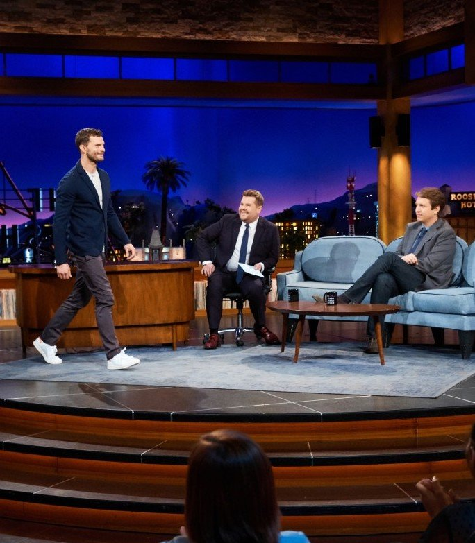 jamie dornan shows off his unfortunate bouncy catwalk on late late show 01 25 Things You Didn't Know About James Corden