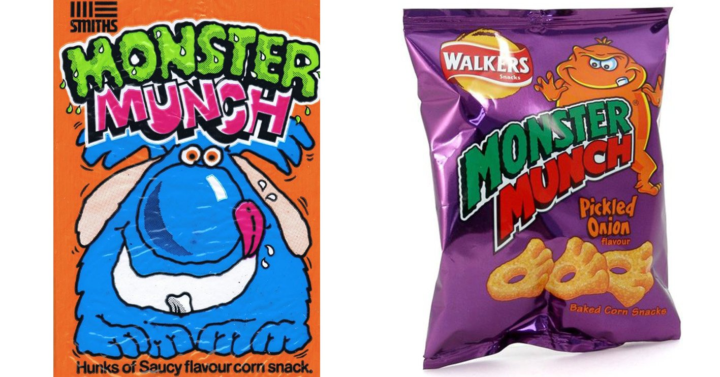 monster munch then and now You Won't Believe How The Packaging Has Changed On Your Favourite Snacks