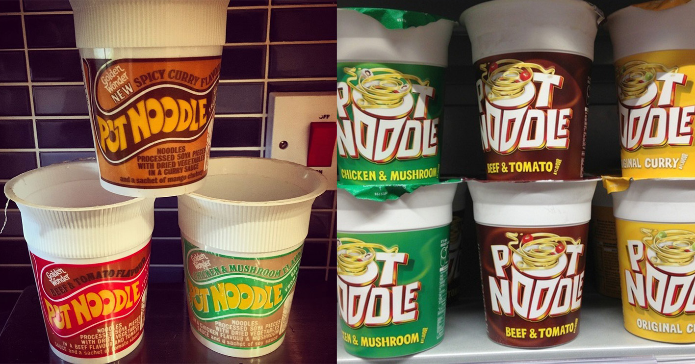 pot noodle then and now You Won't Believe How The Packaging Has Changed On Your Favourite Snacks