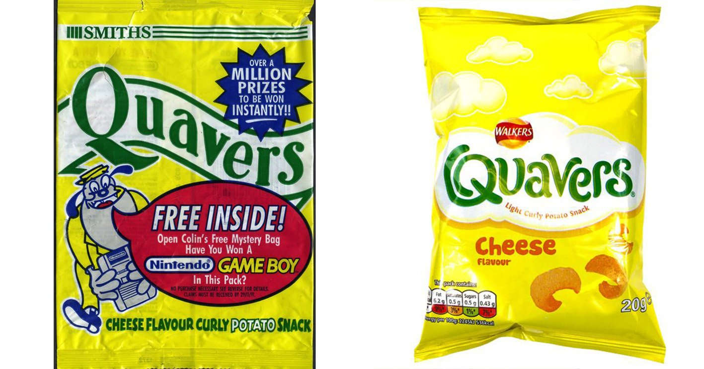 quavers then and now You Won't Believe How The Packaging Has Changed On Your Favourite Snacks