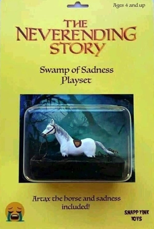 Neverending Story's Artax the horse in the Swamp of Sadness