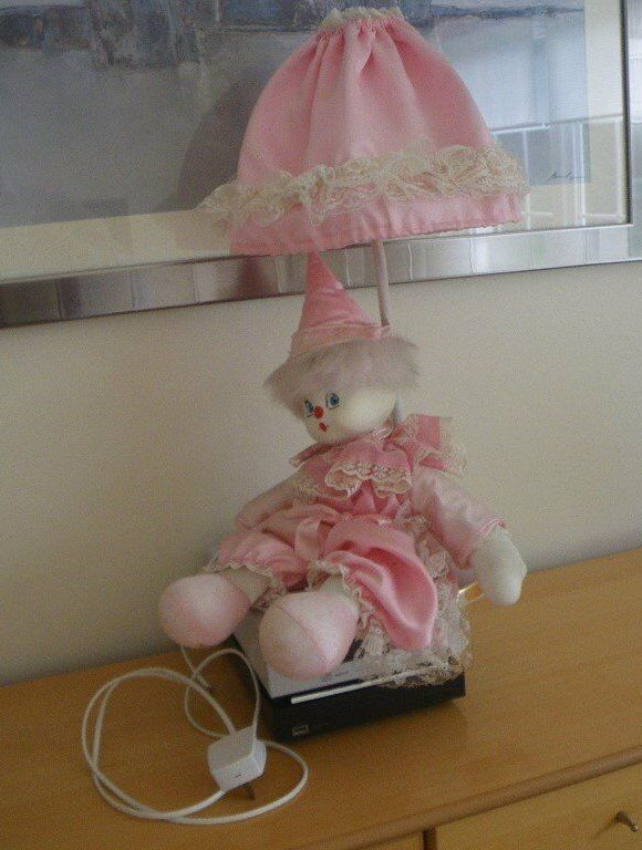 Pink clown doll lamp from the 1980s