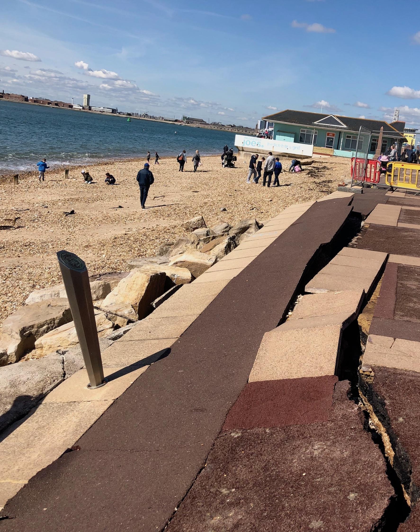 Southsea beach, cracked pavement