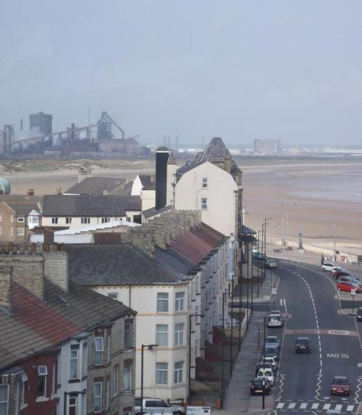 Redcar beach view, with Redcar steel works in background