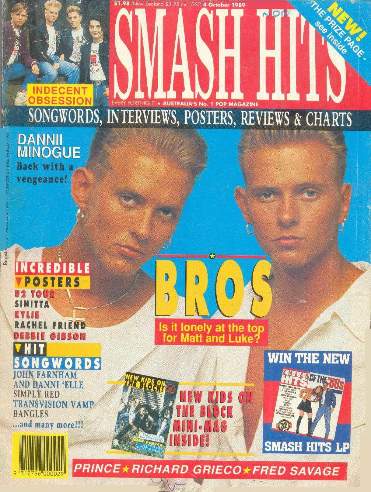 Smash Hits magazine from 1989 featuring Bros