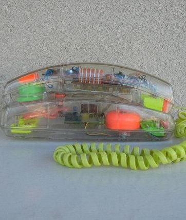 A see through plastic telephone from the 1980s