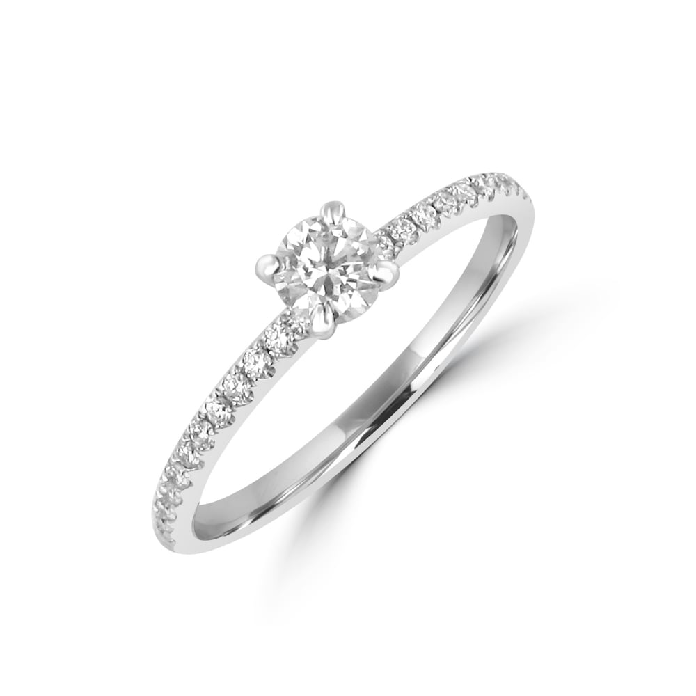 delicate 0 23ct round diamond engagement ring with diamond set band p199 1458 image 15 Of The Most Popular Wedding Ring Trends Right Now
