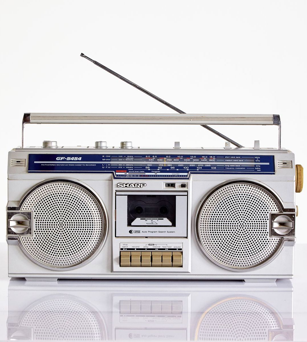 A Sharp radio cassette player from the 1980s