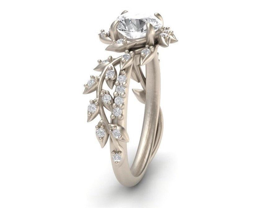 leaf engagement ringwhite gold 14kwhite sapphire engagement ringnature inspired diamond leaf ringbridal ring active photos 137 15 Of The Most Popular Wedding Ring Trends Right Now
