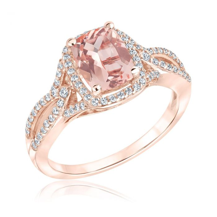 morganite and diamond twist rose gold ring 1 3ctw 1 19559913 t1550356688 15 Of The Most Popular Wedding Ring Trends Right Now