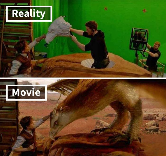 movie behind scenes entertainment movie effects 23 5c6d4fdc68c5d 700 17 Famous Movie Scenes Before And After CGI