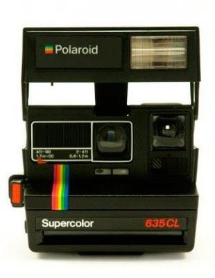 A supercolor Polaroid camera from the 1980s