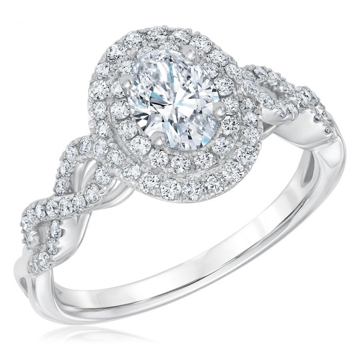 reeds jewelers exclusive oval diamond double halo diamond twist engagement ring 1 1 4ctw 1 19742394 15 Of The Most Popular Wedding Ring Trends Right Now