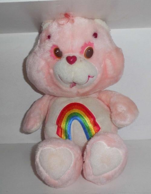 Vintage Care Bears soft toy from the 1980s rainbow bear