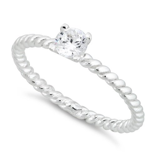 sterling silver solitaire cz rope ring 17 15 Of The Most Popular Wedding Ring Trends Right Now